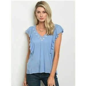 Blue v-neck sleeveless top blouse with embroidery